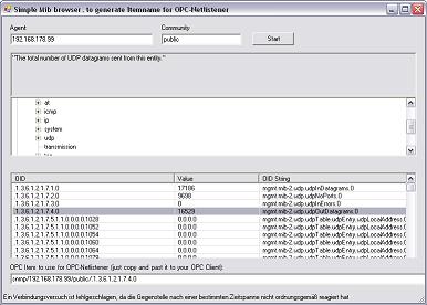 Konfiguration des OPC Netlisteners mit SNMPTagBuilder